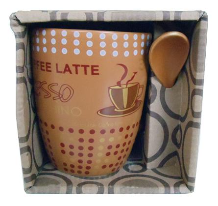 Caneca para Café com Colher em Porcelana Wincy CUP1005