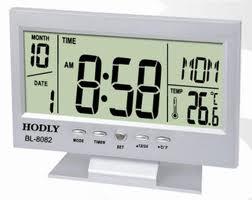 Relógio de Mesa Digital com Despertador, Temperatura, Calendário e Luz Prata 8082