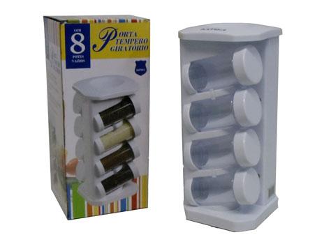 Porta Condimentos e Temperos Giratório com 8 Potes Batiki H354