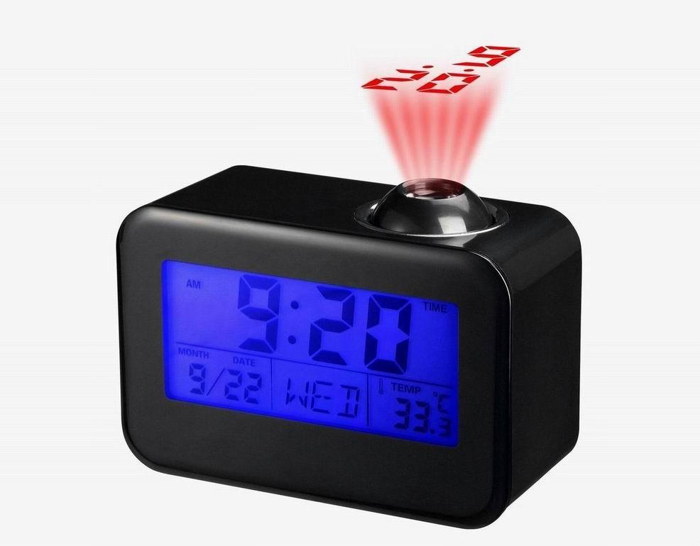 Relógio Digital Despertador com Projetor e Fala a Hora, Calendário, Luz e Temperatura Preto 806