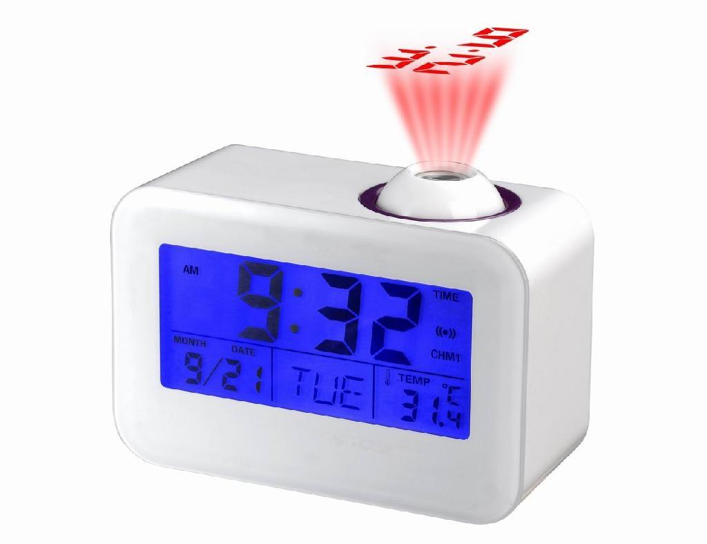 Relógio Digital Despertador com Projetor e Fala a Hora, Calendário, Luz e Temperatura Branco 806