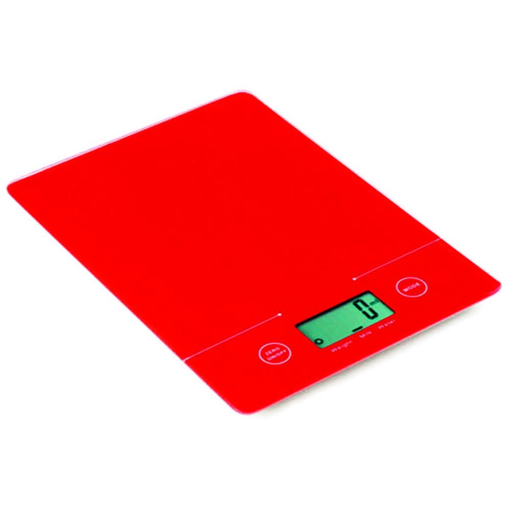 Balança para Cozinha Digital em Vidro Retangular Vermelha 5Kg KE-6
