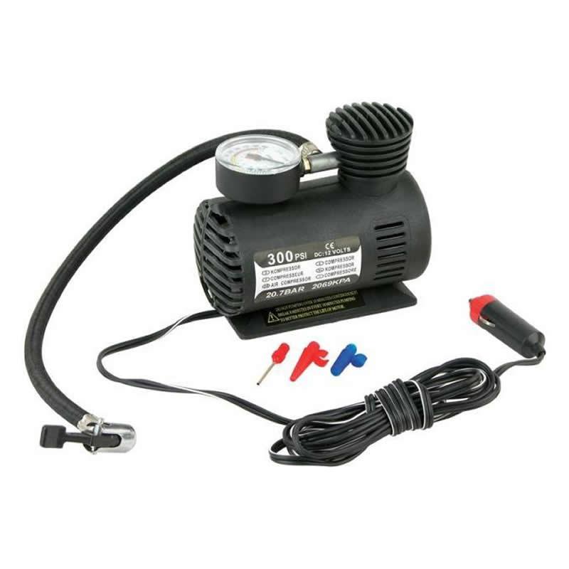 Mini Compressor de Ar 12V 300 PSI para Pneus, Bolas e Infláveis para Acendedor de Cigarro SQ SQ-1016