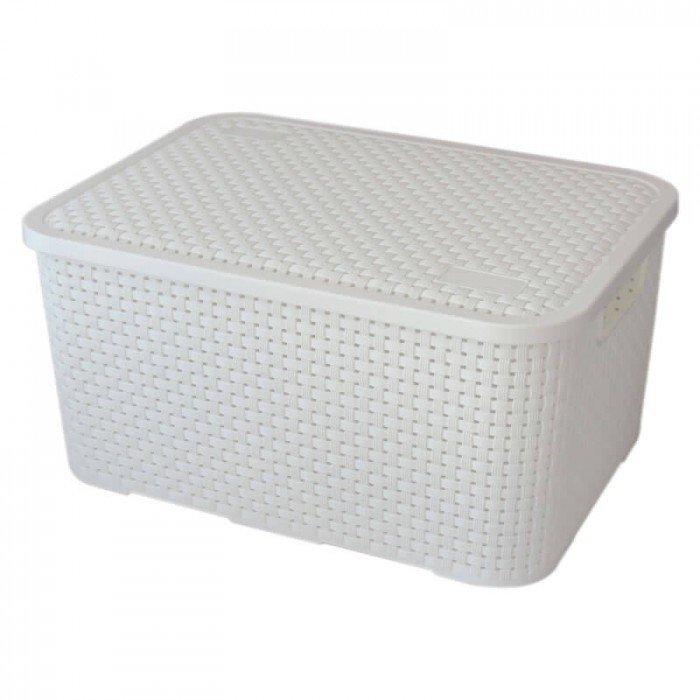 Caixa Organizadora Plástica Cesto Rattan Branca Nitron 069