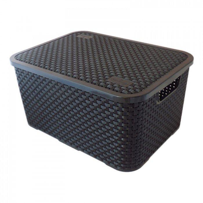 Caixa Organizadora Plástica Cesto Rattan Preta Nitron 069