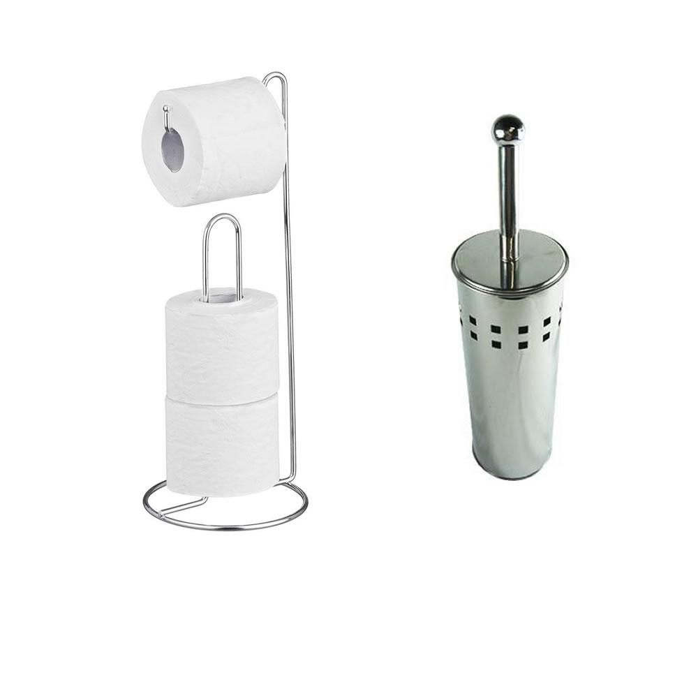 Kit Escova Sanitária Quadrados + Porta Papel Higiênico 331