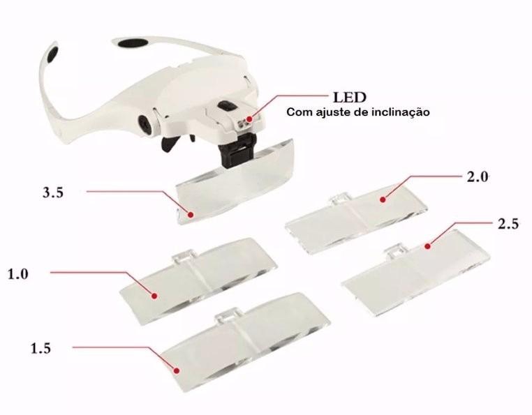 Lupa de Cabeça com Iluminação Luz de 2 LEDs com 5 Lentes Tipo Pala 9892B1
