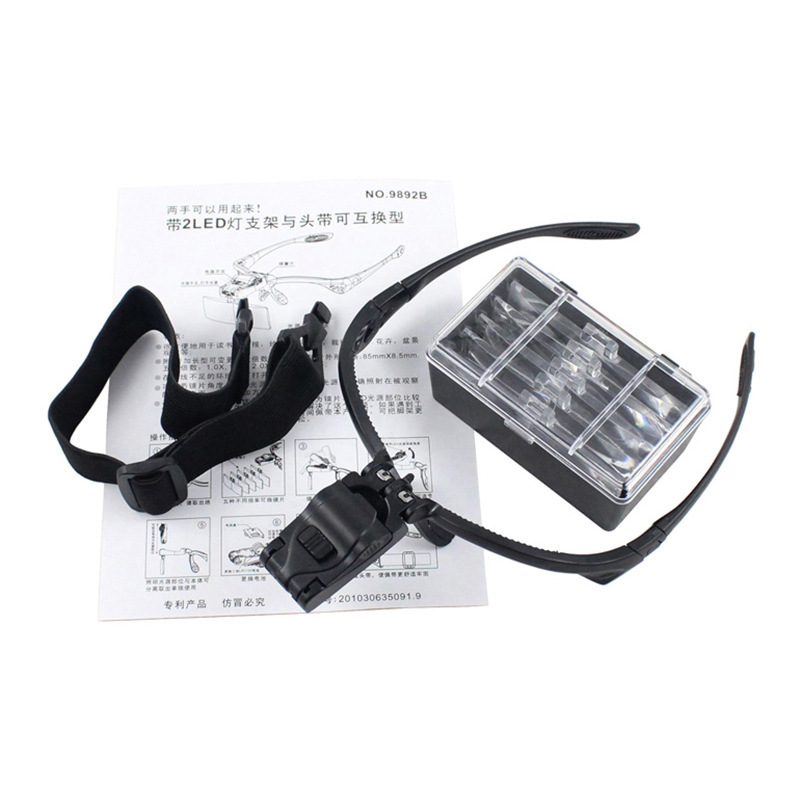 Lupa de Cabeça com Iluminação Luz de 2 LEDs com 5 Lentes Tipo Pala 9892B