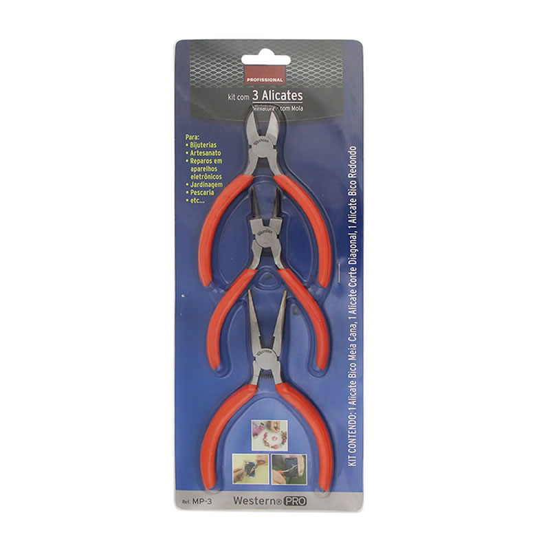 Kit com 3 Mini Alicates Bico Meia Cana, Bico Redondo e Corte Diagonal Western MP-3