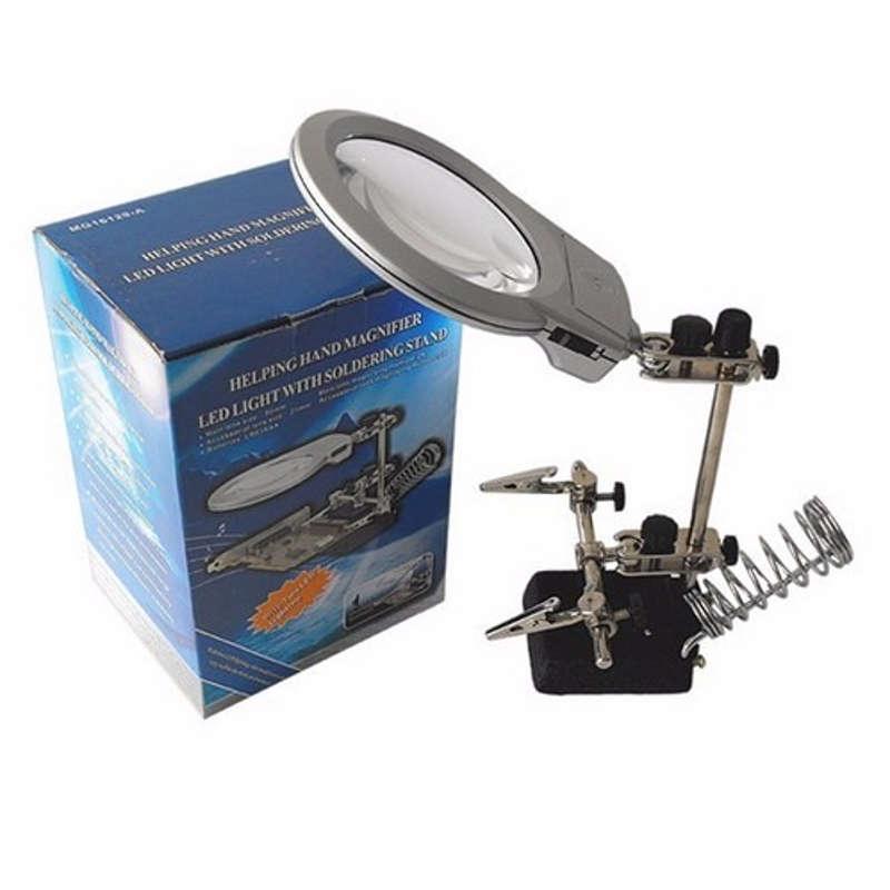 Lupa De Bancada Com Suporte para Ferro de Solda e Luz de LED MG16129-A