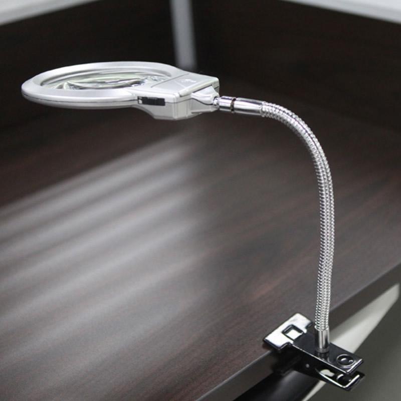Lupa de Mesa Flexível com Luz de LED Aumento de 5x e 2x MG15122-2B