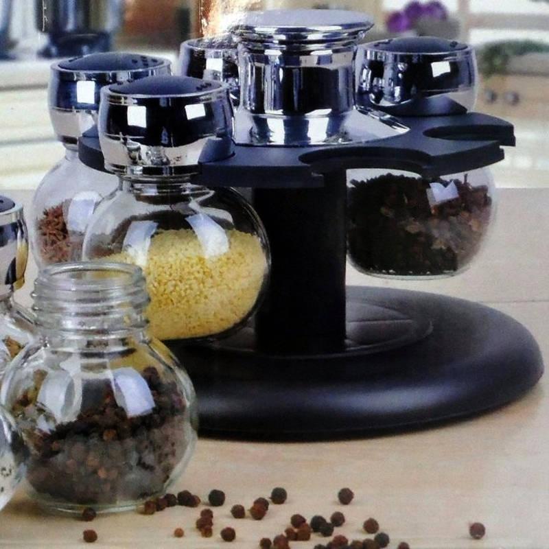 Porta Tempero Giratório com 6 Potes de Vidro AG153105