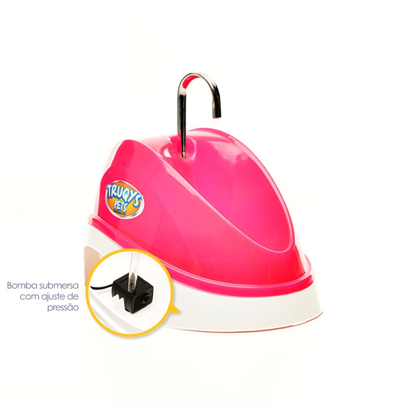 Fonte Bebedouro para Gatos Água Corrente Rosa 220V Truqys Pet 1800RS