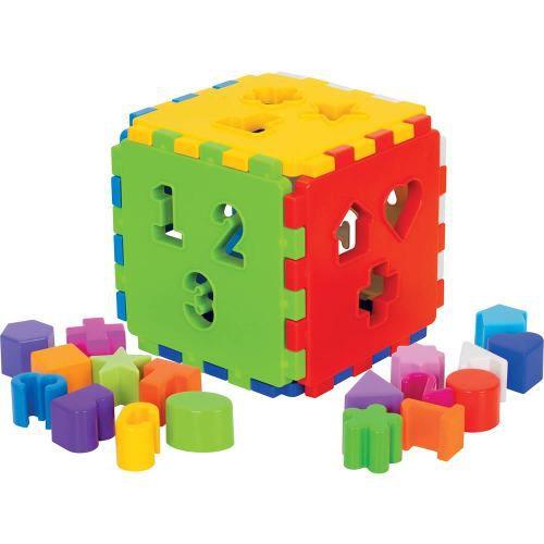 Kit 3 Brinquedos Educativos Girafa + Barco + Cubo Com Blocos