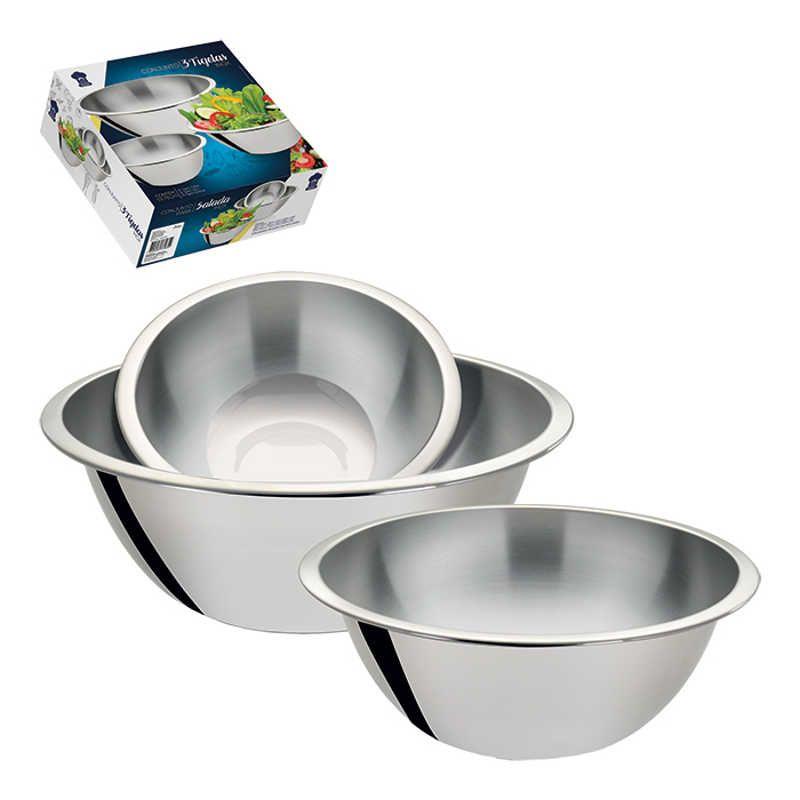 Conjunto 3 Bowls Tigelas em Inox Funda Art House ZF2449