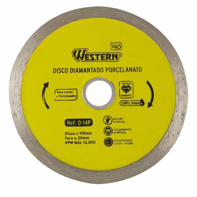 Disco Diamantado para Porcelanato 110mm Western D-14P