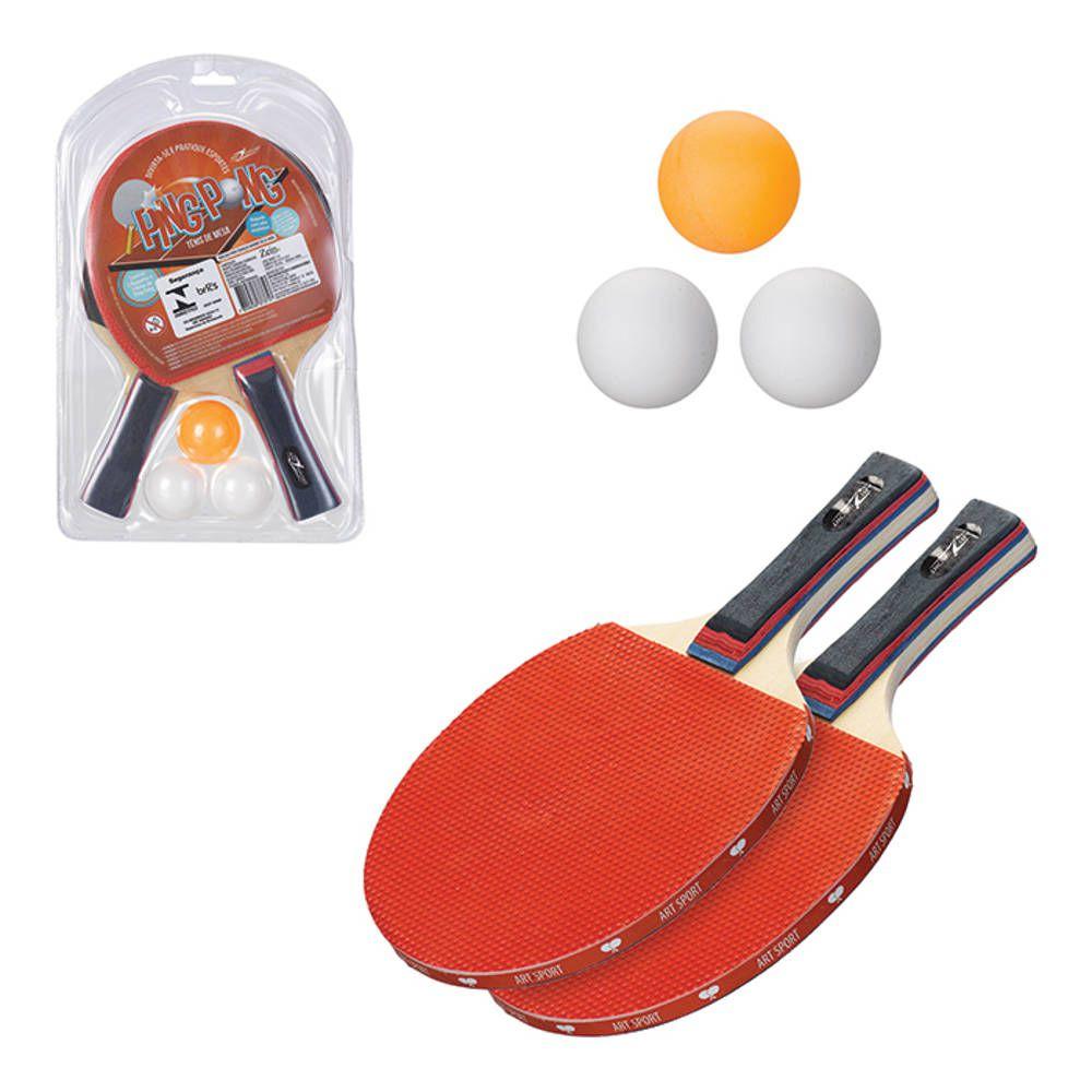 Jogo de Ping Pong com 2 Raquetes Bolinhas Art Sport ZF2920