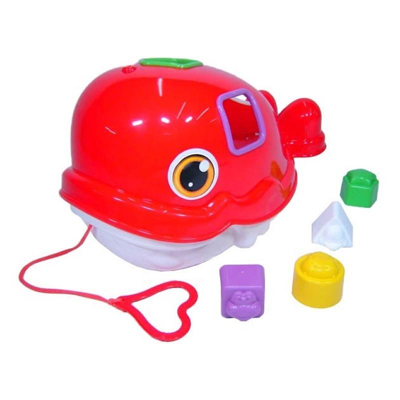 Kit 3 Brinquedos Didáticos Tucano Baleia e Cubo com Blocos de Encaixe Mercado Toys