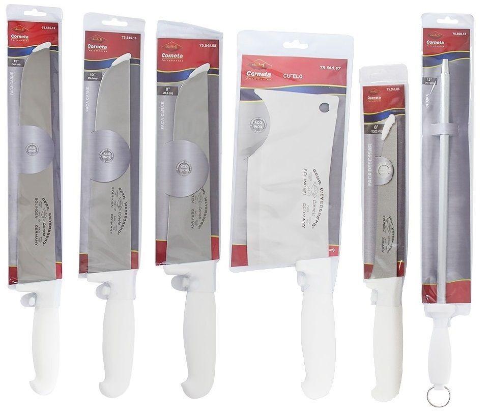 """Kit 3 Facas Açougueiro Profissional em Aço Inox 8"""" 10"""" e 12"""" Desossa Cutelo e Chaira 12 Corneta"""