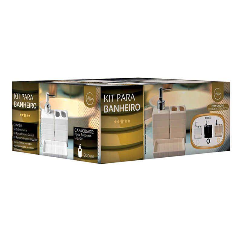 Kit Banheiro Saboneteira e Porta Escovas Art House ZF4723