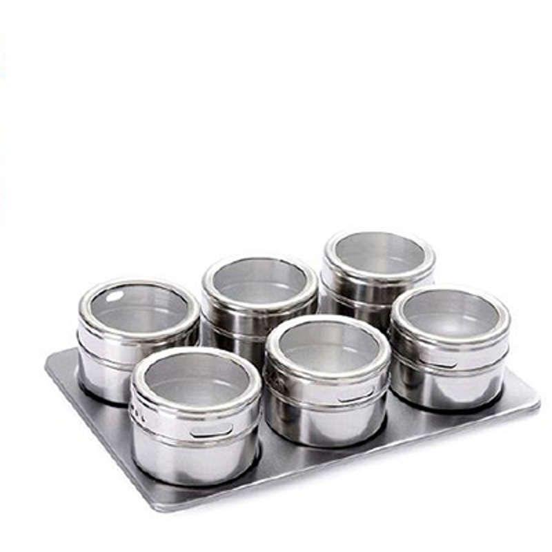 Porta Condimentos 6 Potes em Aço Inox com Imã na Base e Suporte Wellmix WX3882