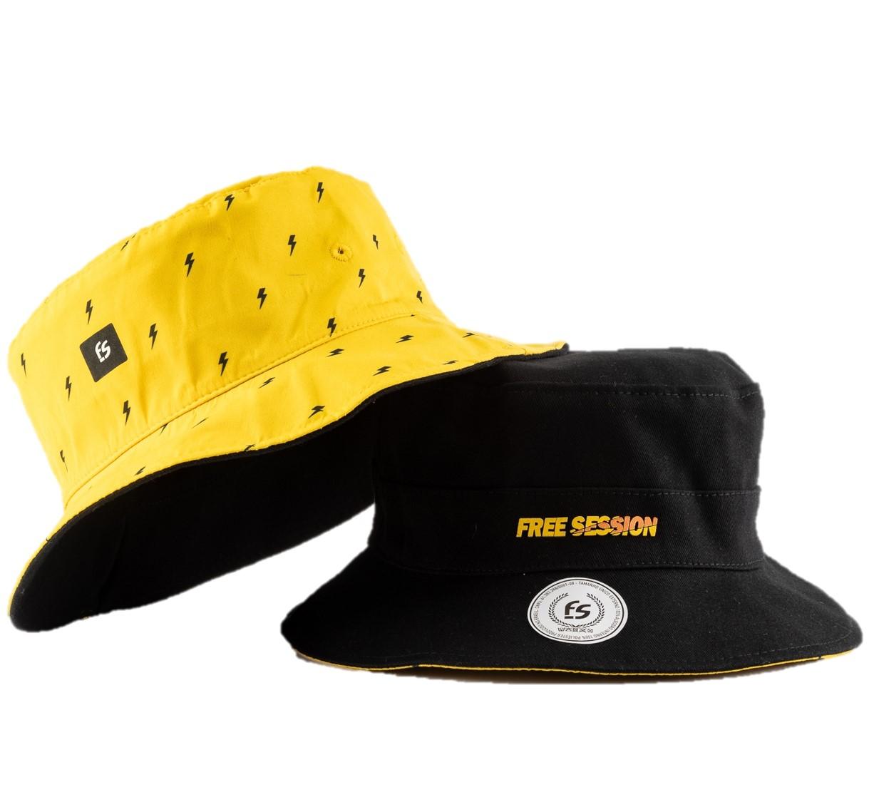 Chapéu Bucket Dupla Face Free Session Volts Preto/Amarelo