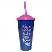 Copo c canudo mimo água azul com rosa