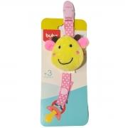 Prendedor de chupeta rosa com girafa