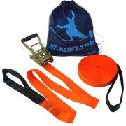 Slackline Kit Completo 15 mts + Bolsa - Cor Laranja Fluorescente