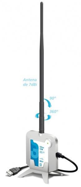 Adaptador Wireless Ultra USB 150Mbps c/ antena 7dbi 500mw