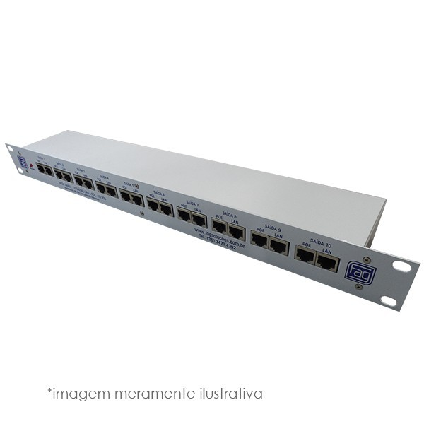 Regua Patch Panel Poe Fast 10 P Fag - Ent 12v Até 48v