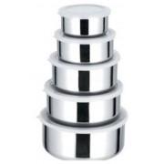 Conjunto Kit de 5 Potes de Aço Inox - Frete Grátis