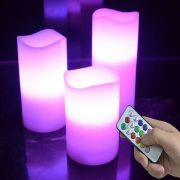 Kit 3 Velas Led - Multi Color Controle Remoto