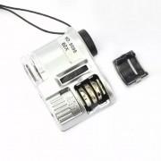 Lupa Microscópio Conta Fios 60x com Luz UV, LED e Clip para Celular.