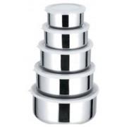 Conjunto Kit 5 Potes Aço Inox