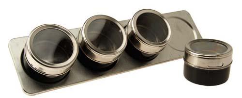 Kit Organizador porta temperos magnetico de inox com 4 Unidades  - Thata Esportes