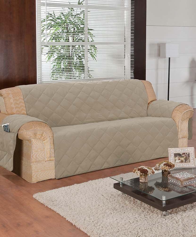 Protetor de Sofa Microfibra com Porta Revistas (3 Lugares)  - Frete Gr�tis  - Thata Esportes