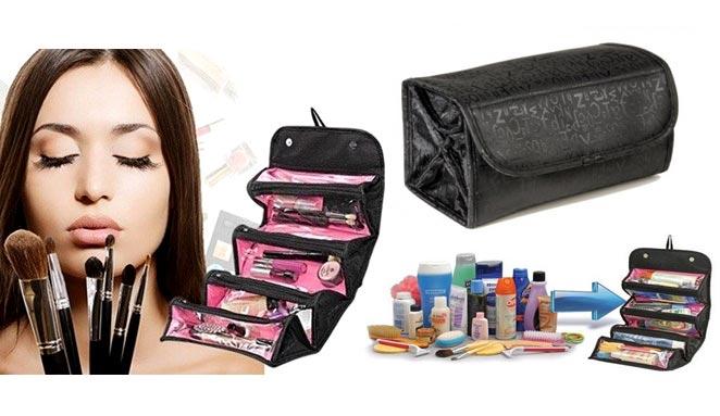 Organizador de Maquiagem Roll - Bolsa Maleta Porta Maquiagem e Utilidades   - Thata Esportes