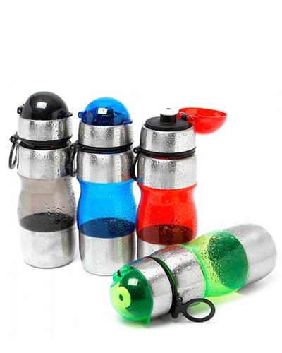 Garrafa de Academia de Plástico com Inox 600ml  - Thata Esportes