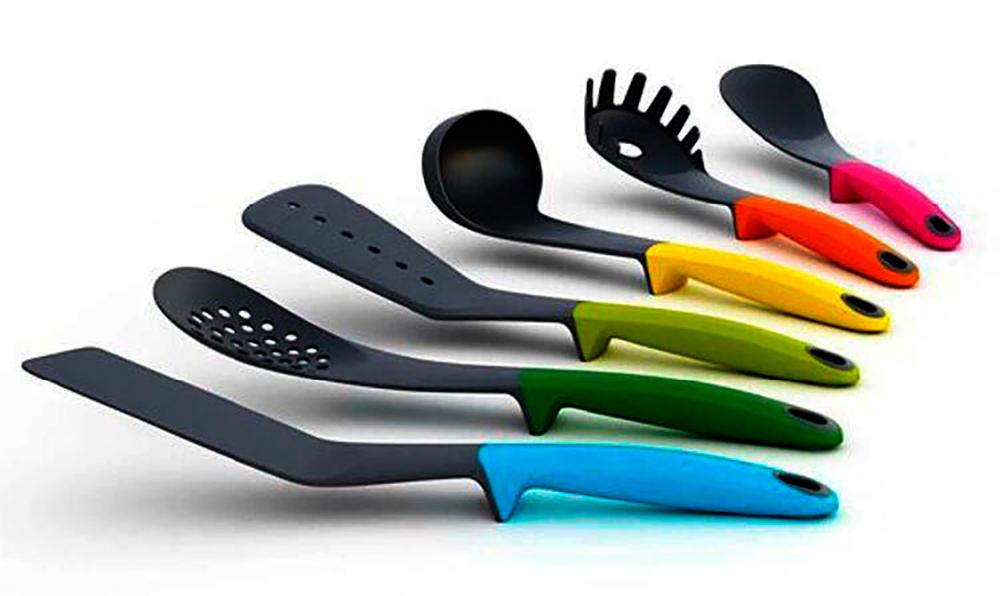 Kit 6 Utensílios Plásticos para Cozinha + Expositor  - Thata Esportes
