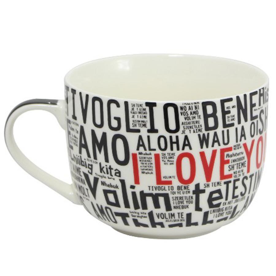 Caneca Tigela I Love You Diversos Idiomas  - Thata Esportes