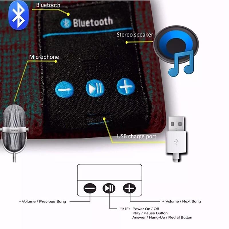 Touca Gorro com Conexão Bluetooth Unissex Preto  - Thata Esportes