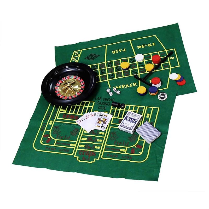 Kit com 5 Jogos Roleta, Poker, Cartas, Dados e Blackjack  - Thata Esportes