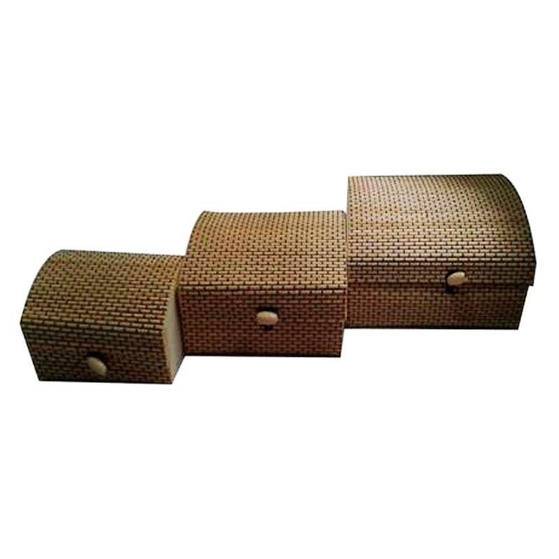 Kit  3 Baús de Bambu   - Thata Esportes