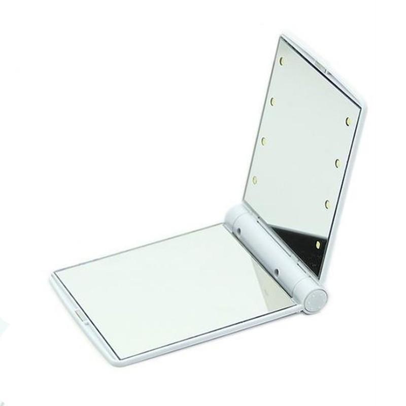 Mini Espelho Portátil Dobrável para Maquiagem com LED  - Thata Esportes