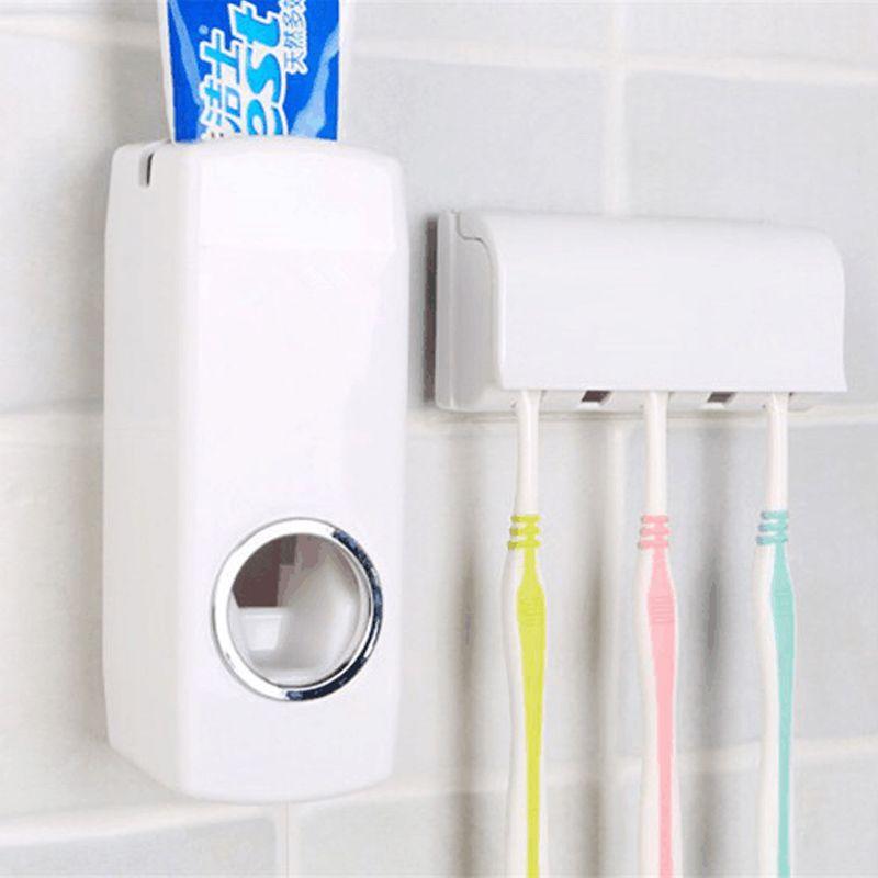 Suporte de Escovas e Dispenser Branco Para Creme Dental  - Thata Esportes