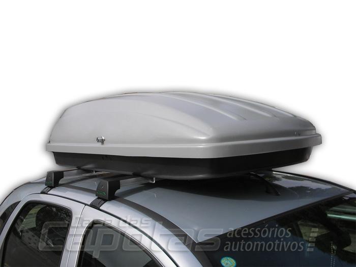 Maleiro ou bagageiro de teto em abs com chave p/ carros e utilit�rios - 360 litros cinza prata