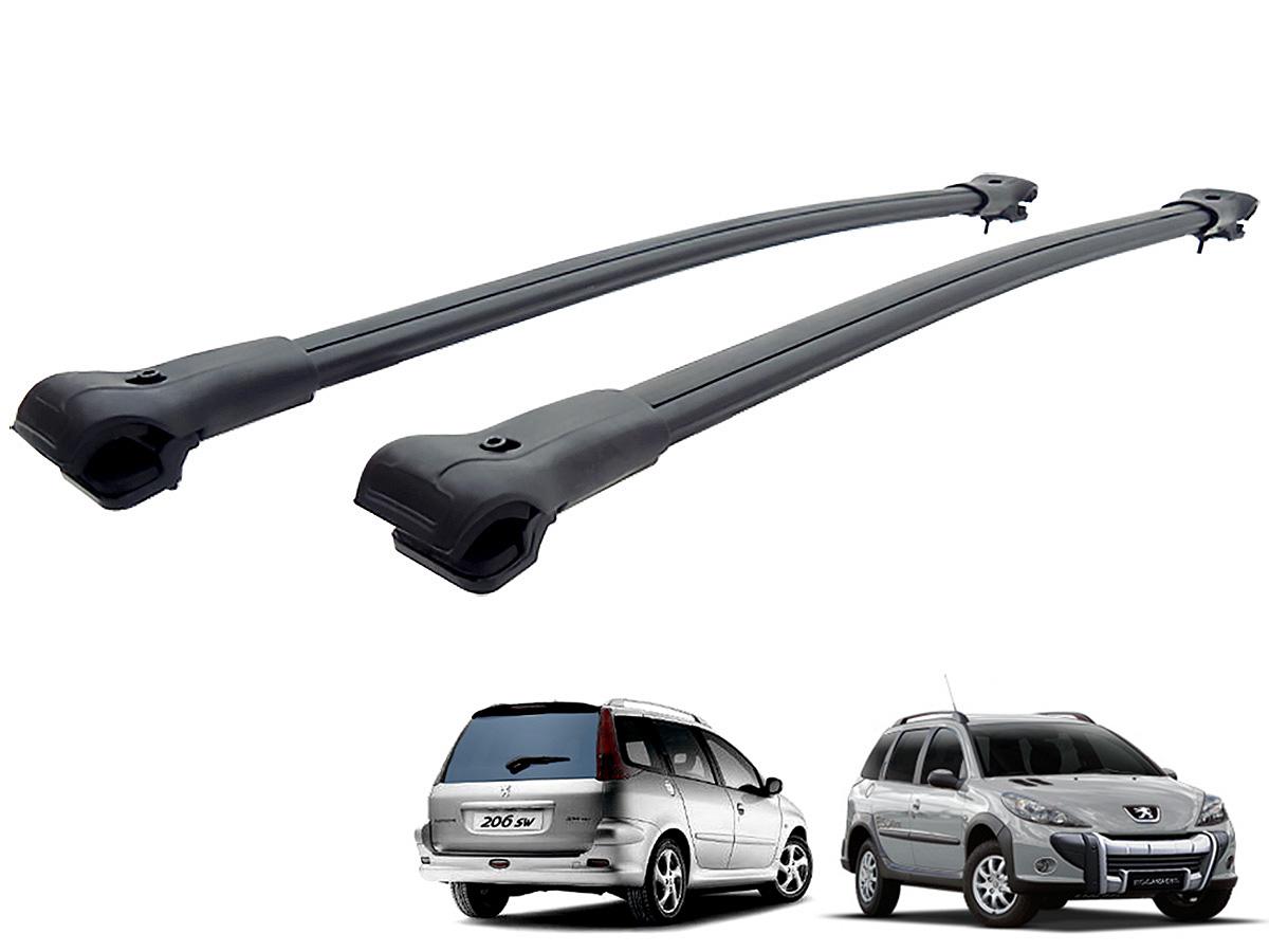 Travessa rack de teto larga preta alum�nio Peugeot 206 SW, 207 SW ou 207 Escapade