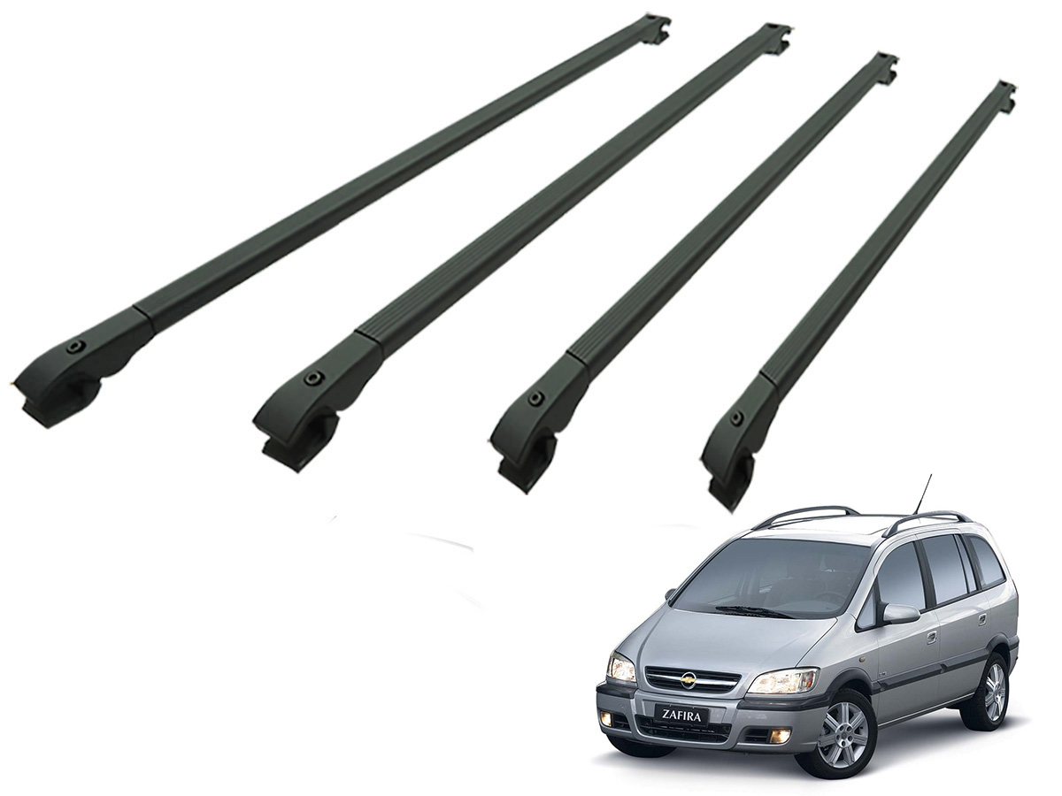 Travessa rack de teto alum�nio preta Zafira 2001 a 2012 kit 4 pe�as