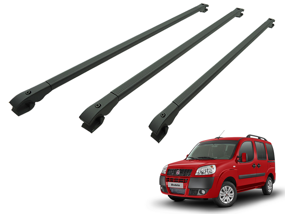 Travessa rack de teto alum�nio preta Doblo 2002 a 2017 kit 3 pe�as